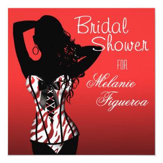 Bombshell Lingerie Zebra Corset Bridal Shower 5.25x5.25 Square Paper Invitation Card