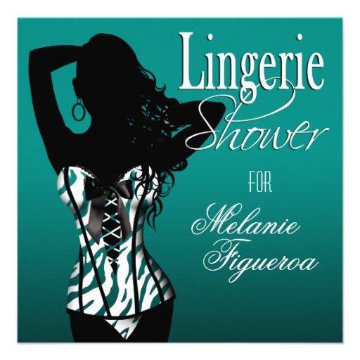 Bombshell Lingerie Zebra Corset Bridal Shower Invite