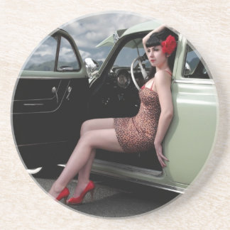 Bombshell Pin Up Girl with Classic Car Coaster