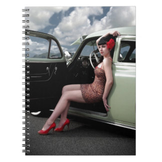 Bombshell Pin Up Girl with Classic Car Notebooks