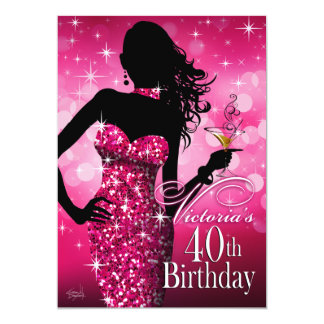 Bombshell Sparkle 40th Birthday | fuschia 5x7 Paper Invitation Card