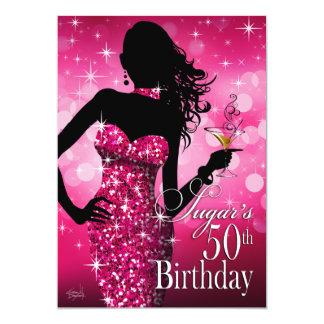 Bombshell Sparkle 50th Birthday | fuschia 13 Cm X 18 Cm Invitation Card