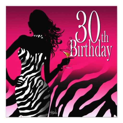 Bombshell Zebra 30th Birthday Party Fuschia Custom Invitation