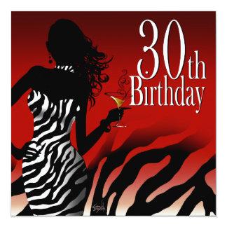 Bombshell Zebra 30th Birthday Party Red 13 Cm X 13 Cm Square Invitation Card