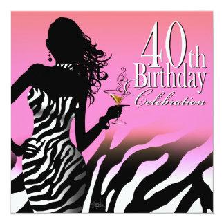 Bombshell Zebra 40th Birthday Party Dress Pink 13 Cm X 13 Cm Square Invitation Card