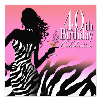 Bombshell Zebra 40th Birthday Party Dress Pink Invitations