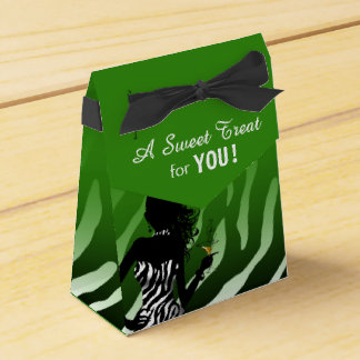 Bombshell Zebra green Party Favor Box