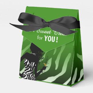 Bombshell Zebra | green Party Favor Box
