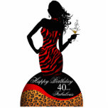 Bombshell Zebra Leopard 40th Birthday Centerpiece Photo Cut Outs