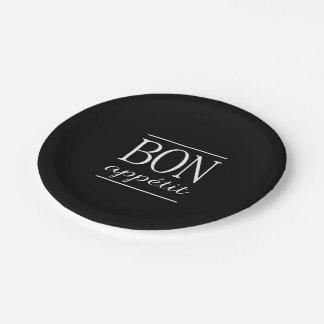 BON APPETIT Black Kitchen Quote Typography Text Paper Plate