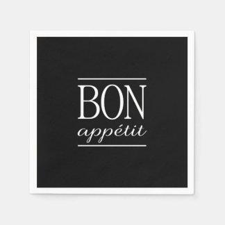 BON APPETIT Black & White Kitchen Quote Typography Disposable Serviettes