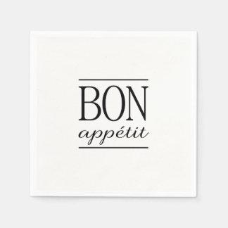 BON APPETIT Black & White Kitchen Quote Typography Paper Napkin