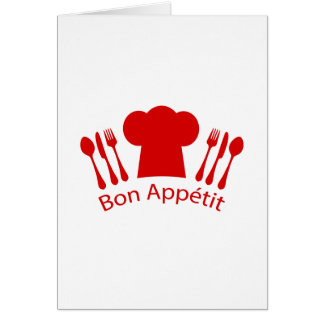 Bon Appetit Chef's Hat, Knife and Fork Card
