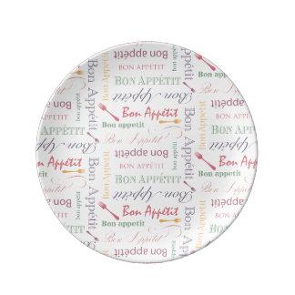 Bon Appetit Decorative Pattern Porcelain Plates