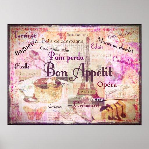 Bon Appétit French food words KITCHEN art decor Poster