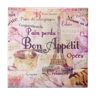 Bon Appétit French food words KITCHEN  art decor Small Square Tile