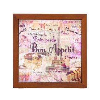 Bon Appétit French food words Paris theme art Desk Organiser