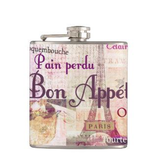 Bon Appétit French food words Paris theme art Flasks