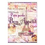 Bon Appetit French Style food words Paris theme Invitation