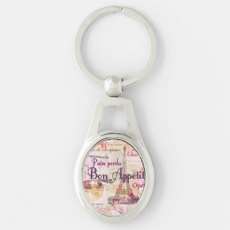 Bon Appetit French Style food words Paris theme Key Ring