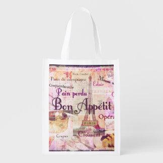 Bon Appetit French Style food words Paris theme Reusable Grocery Bag