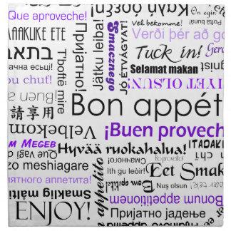Bon appetit in different languages - purple napkin