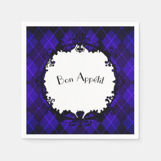 """""""Bon Appétit""""_Jeweled-Purple-Argyle-Iron-Mirror(c) Disposable Serviette"""