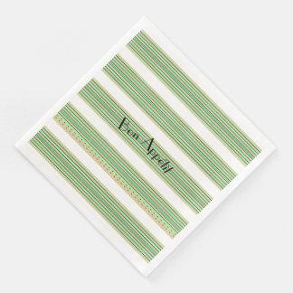 """""""Bon Appétit""""_Nautical-Lime-Stripes(c) Disposable Napkins"""