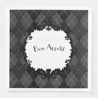 """Bon Appétit""_Penthouse-Gray-Argyle-Iron-Mirror(c) Paper Napkin"