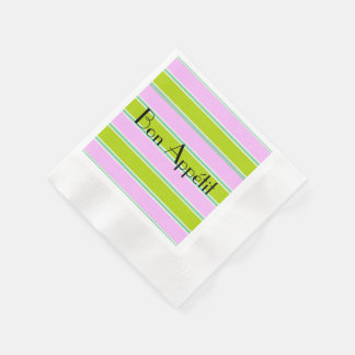 """Bon Appétit""_Pink-Green-Blue-_Celebration's_ Paper Napkins"
