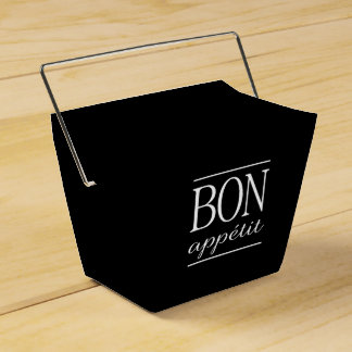 BON APPETIT Quote Dinner Typography Text Black Favour Box