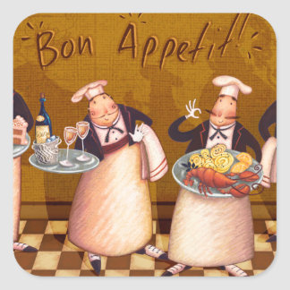 Bon Appétit Square Sticker
