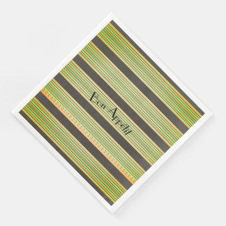 """""""Bon Appétit""""_Tiki-Hut-Stripes(c)Gray-Lime-Melon Disposable Serviettes"""