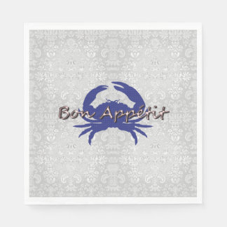Bon-Appetite--BLUE_Crab-Damask---Celebrate Disposable Napkin