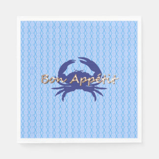 Bon-Appetite--BLUE_Crab-diamond--Celebrate Disposable Serviette