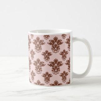 bon bon pink and brown damask pattern coffee mugs