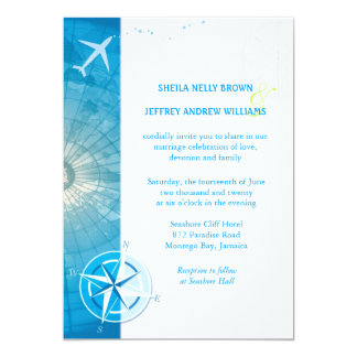 Bon Voyage Blue Destination Wedding Card