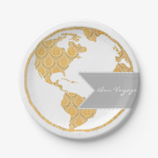 Bon Voyage   Bohemian World Map   Going Away 7 Inch Paper Plate