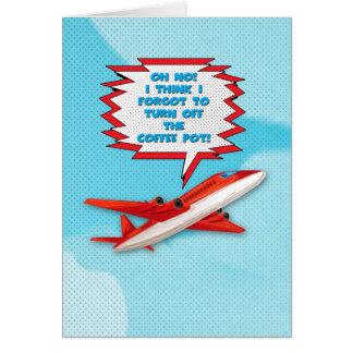 Bon Voyage Enjoy Vacation Funny Plane in Sky Greeting Card