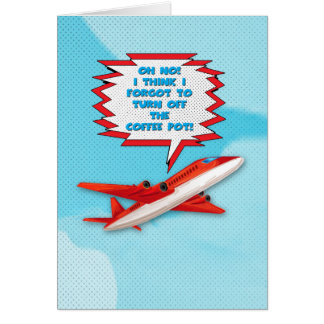 Bon Voyage Enjoy Vacation Funny Plane in Sky Greeting Card