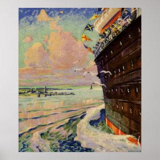 Bon Voyage Ocean Liner seascape Poster