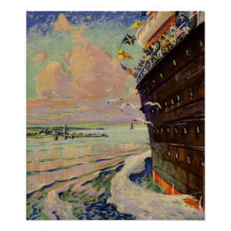 Bon Voyage Ocean Liner seascape Posters