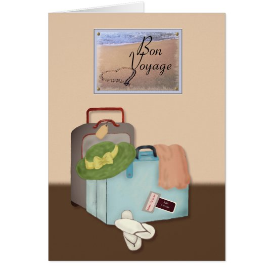 Bon Voyage, Packed Suitcases, Beach Theme Card