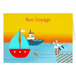 Bon Voyage, Pelicans, Boats, and Sunset Card