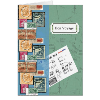Bon Voyage Stamps From Around The World Greeting Card