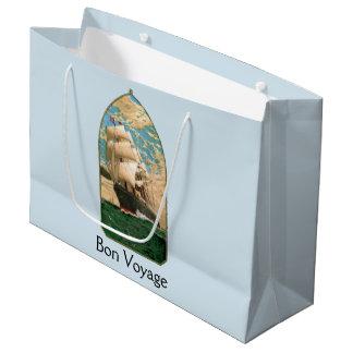 Bon Voyage vintage ship and anchor Large Gift Bag