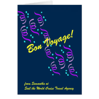 Bon Voyage Wishes in Blue B4C Greeting Card