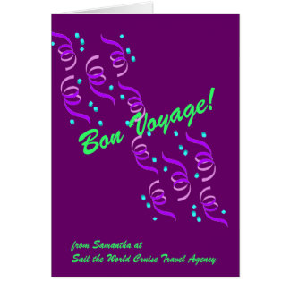 Bon Voyage Wishes in Purple P4C Greeting Card