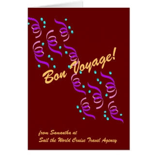 Bon Voyage Wishes in red r4C Greeting Card