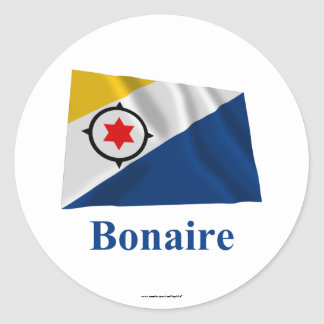 Bonaire Waving Flag with Name Round Stickers